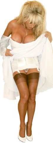 Lady Sonia Dane in high-heels looking up her dress at her girdle nylon stockings see-through panties